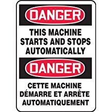 """Accuform FBMEQM152VS DANGER THIS MACHINE STARTS & STOPS AUTOMATICALLY (BILINGUAL FRENCH) 14"""" x 10"""" Adhsv Vnyl"""