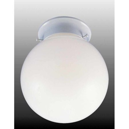 Volume Lighting V7408 1 Light 8 Flush Mount Ceiling Fixture With White Gl