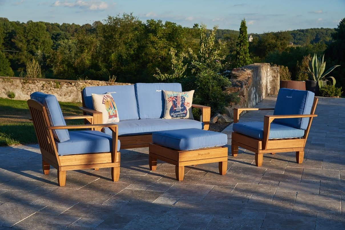 Beautiful 5pc Jimmy Buffet Margaritaville Patio Furniture Conversation Set With  Reversible Cushions   Blue