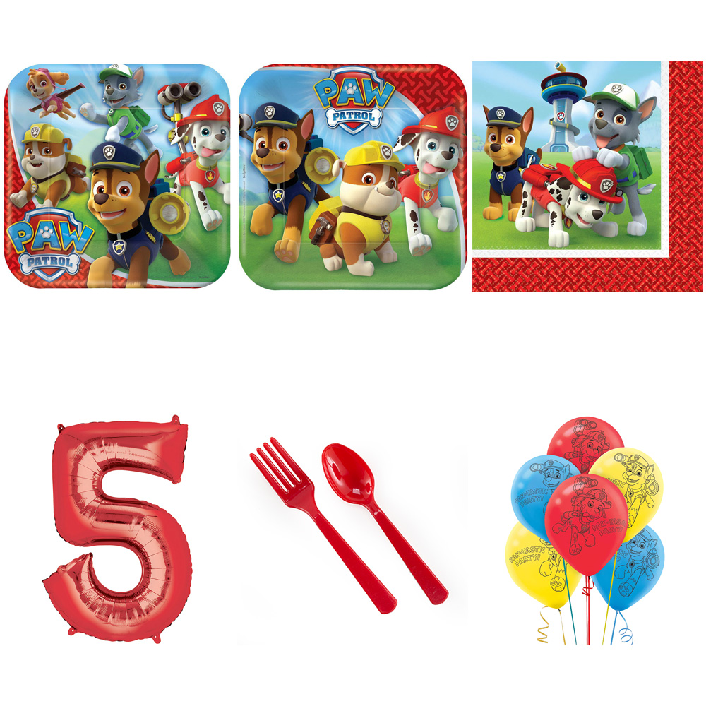 PAW PATROL PARTY SUPPLIES PARTY PACK FOR 32 WITH RED #5 BALLOON