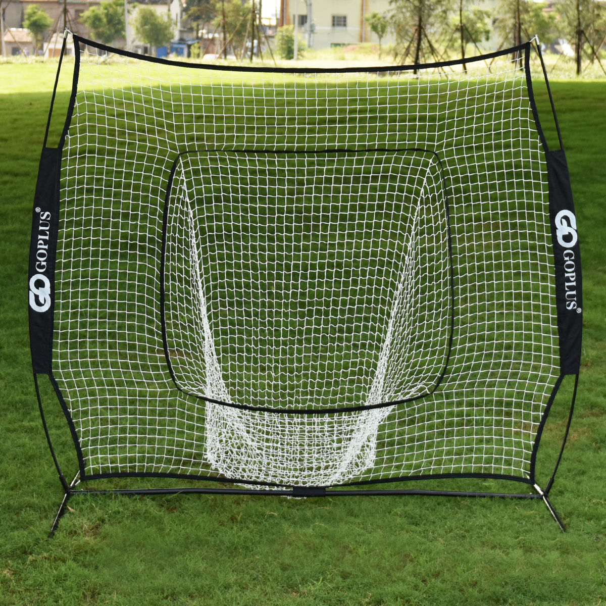 Costway 7x7' Baseball & Softball Practice Hitting/Batting Training Net with Bow Frame, Black Bag