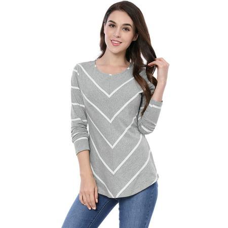 Women Scoop Neck Long Sleeves Striped Chevron Print Top Blouse