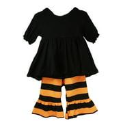 Little Girls Black Orange Stripes Ruffles Boutique Pant Outfit Set 12M-6