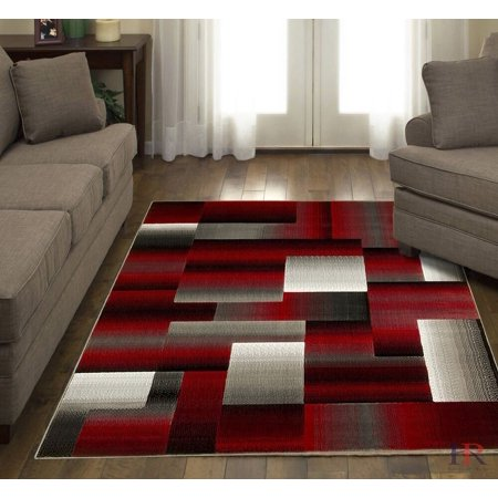 HR ABSTRACT MODERN TRADITIONAL CONTEMPORARY MIXED COLORS PATTERNS DESIGN AREA RUG CARPET RED/SILVER/GREY (5 feet by 6 feet. 11 inches)
