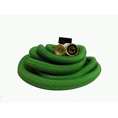 69 Hose Polished Brass - 50 Feet Ultra Lightweight Expandable Garden Hose With All Brass Connectors And An 8 Pattern Spray Nozzle ~ Heavy Duty