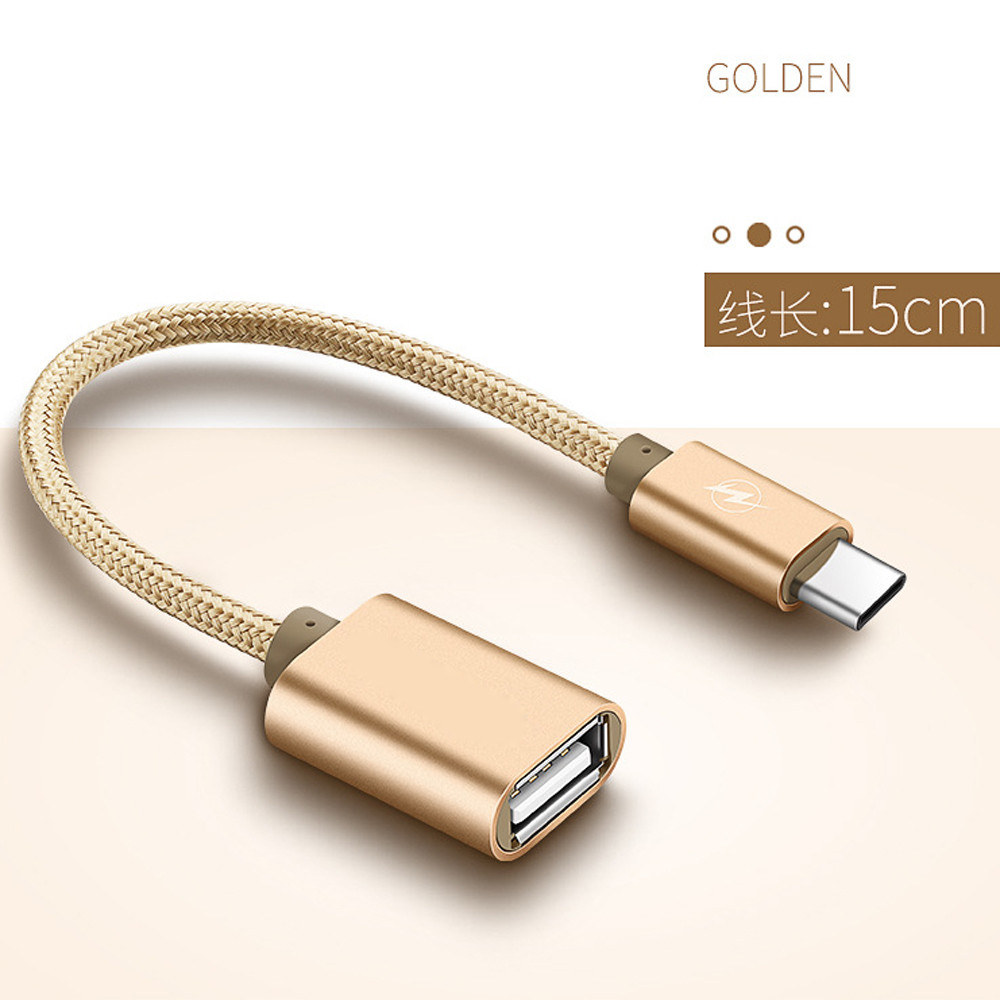 DZT1968 Metal USB C 3.1 Type C Male To USB Female OTG Data Sync Converter Adapter Cable