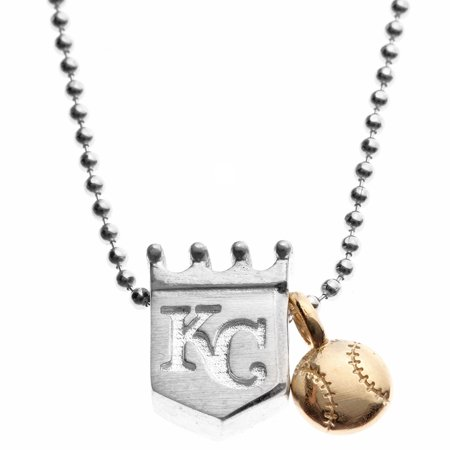 Kansas City Royals Jewelry (Kansas City Royals Alex Woo Women's Little MLB Sterling Silver Necklace with Mini Gold Baseball Addition - No Size )