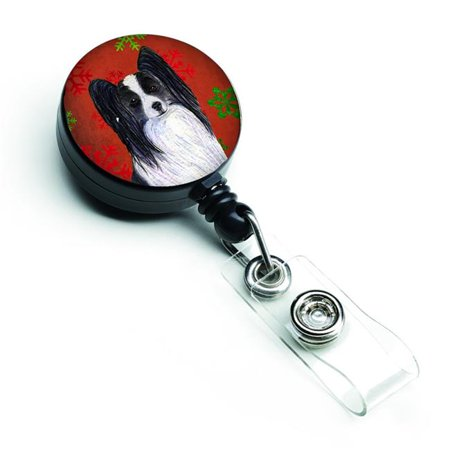 Papillon Red & Green Snowflakes Holiday Christmas Retractable Badge Reel - image 1 of 1