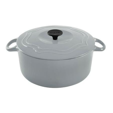 Chantal 5 Quart Porcelain Enameled Covered Cast Iron Dutch Oven Pot, Fade Gray - Porcelain Pots