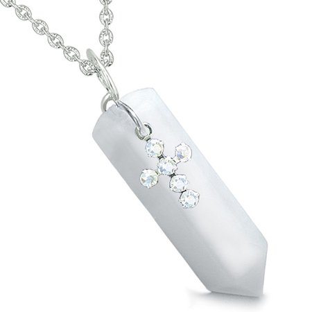 Crystal Point Wand Holy Cross Cute Crystals Charm Snowflake Quartz Pendant 22 Inch Necklace](Cute Crosses)