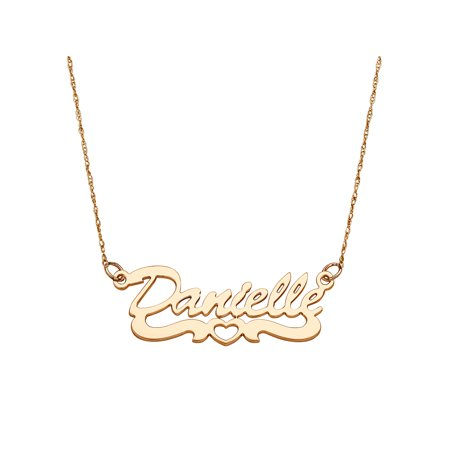 Personalized Women's 14kt Gold Script Nameplate Necklace with Open Heart Tail, 18""