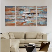 The Lighting Store Hand-painted 'Abstract 649' 3-piece Gallery-wrapped Oil on Canvas Set