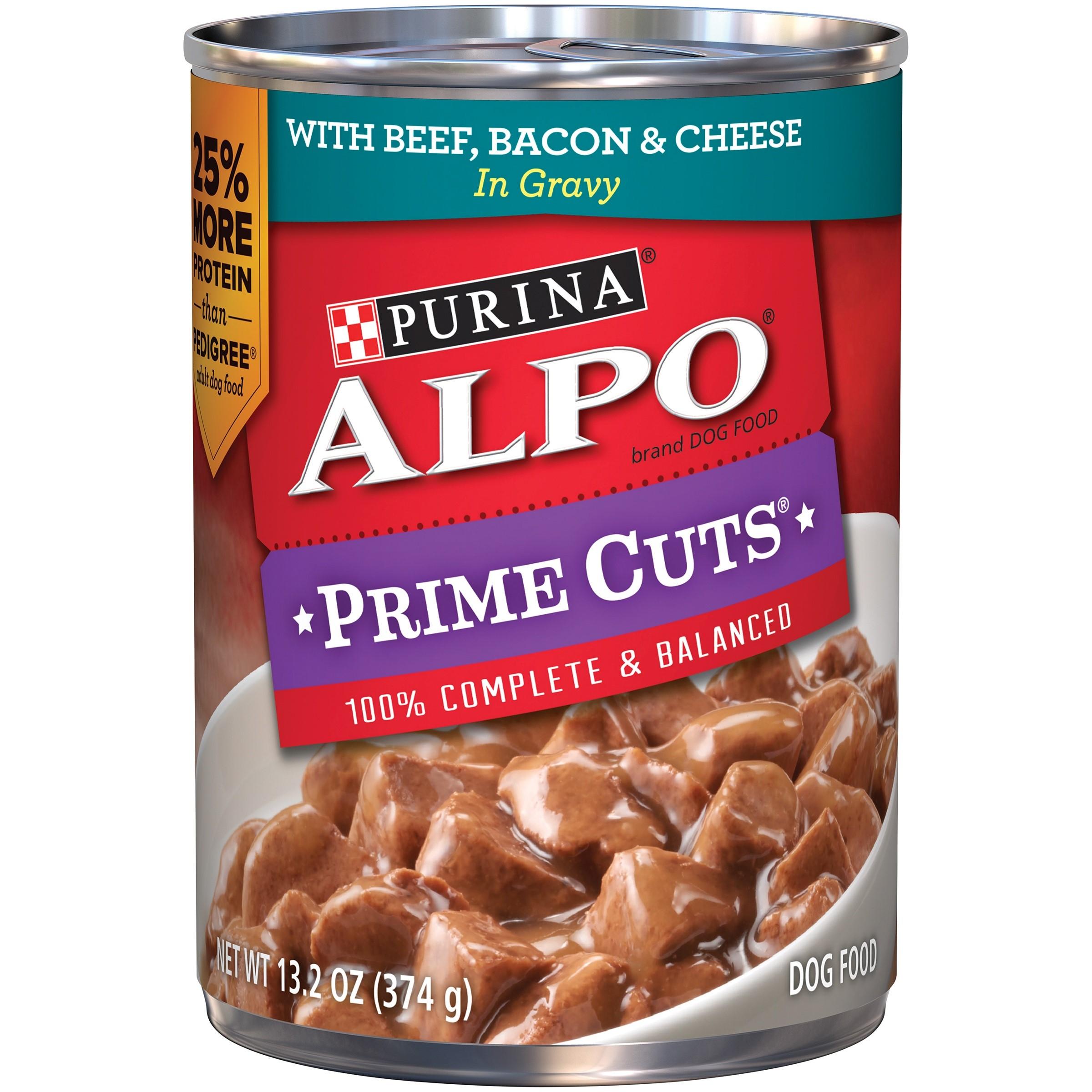 Purina ALPO Prime Cuts Beef, Bacon & Cheese in Gravy Wet Dog Food, 13.2-Oz, Case of 12