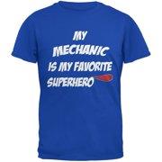Mechanic is My Superhero Royal Adult T-Shirt - Medium