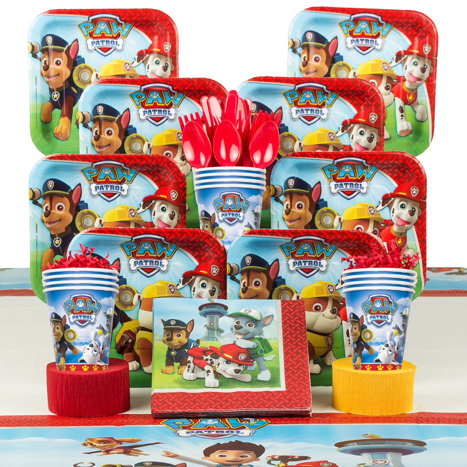 Paw Patrol Birthday Party Supplies Deluxe Tableware Kit (Serves 8)
