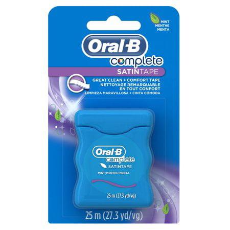(4 Pack) Oral-B Complete SatinTape Dental Floss, Mint, 25 M