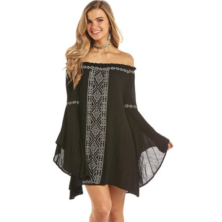 Rock N Roll Cowgirl Womens Rock Roll Cowgirl Off the Shoulder Bell Sleeve Dress](Womens Cowgirl Outfit)