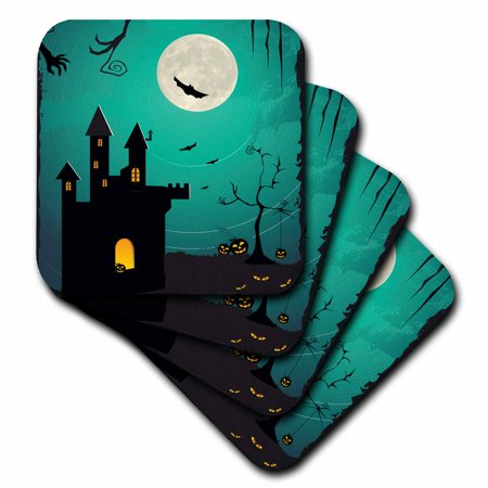 3dRose Halloween Haunted House With A Full Moon, Bats, and Pumpkins, Ceramic Tile Coasters, set of 4](Halloween Roller Coaster)