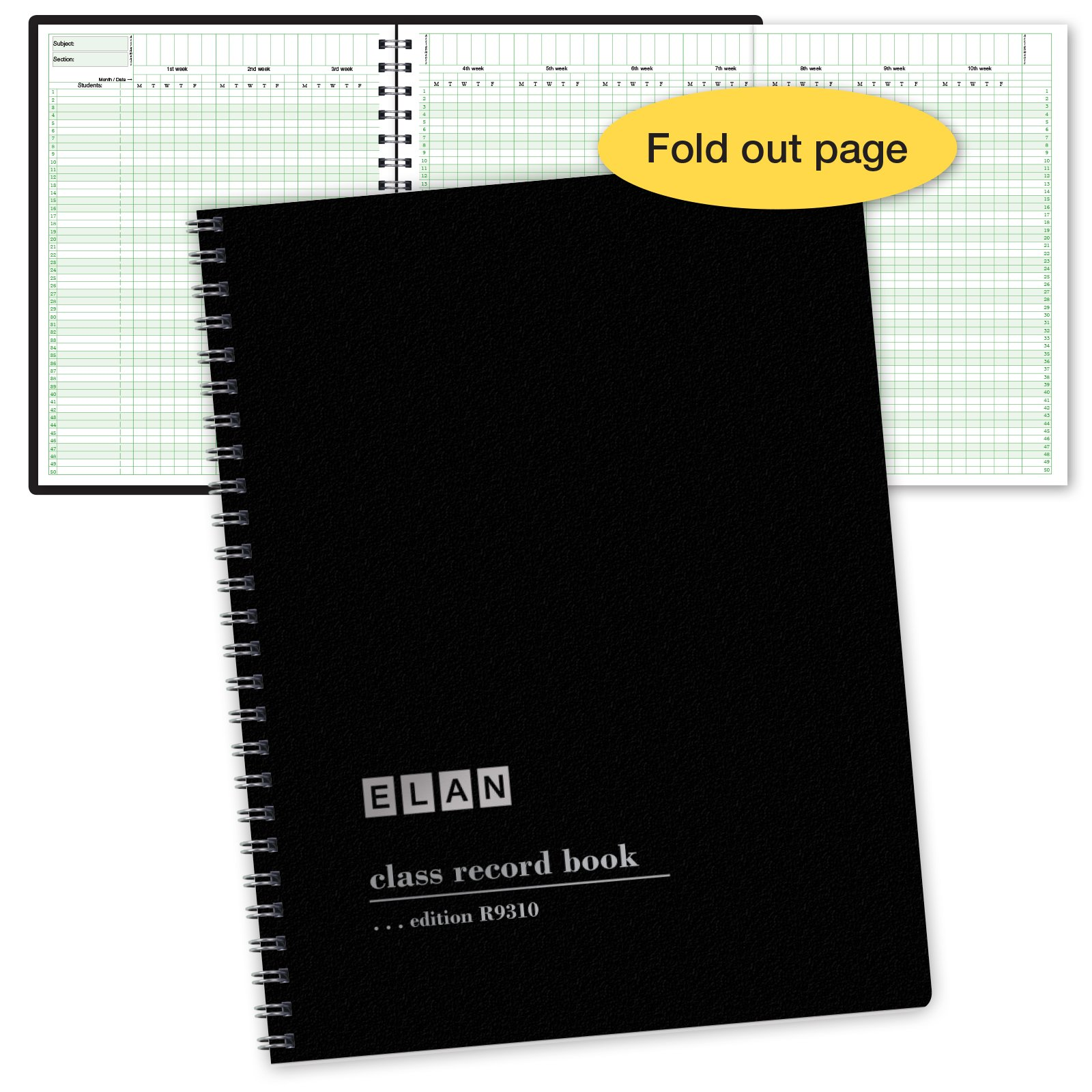 Class Record Book for up to 10 Weeks. 50 Names. Extra Large Grade Recording Squares. (R9310) by ELAN Publishing Company