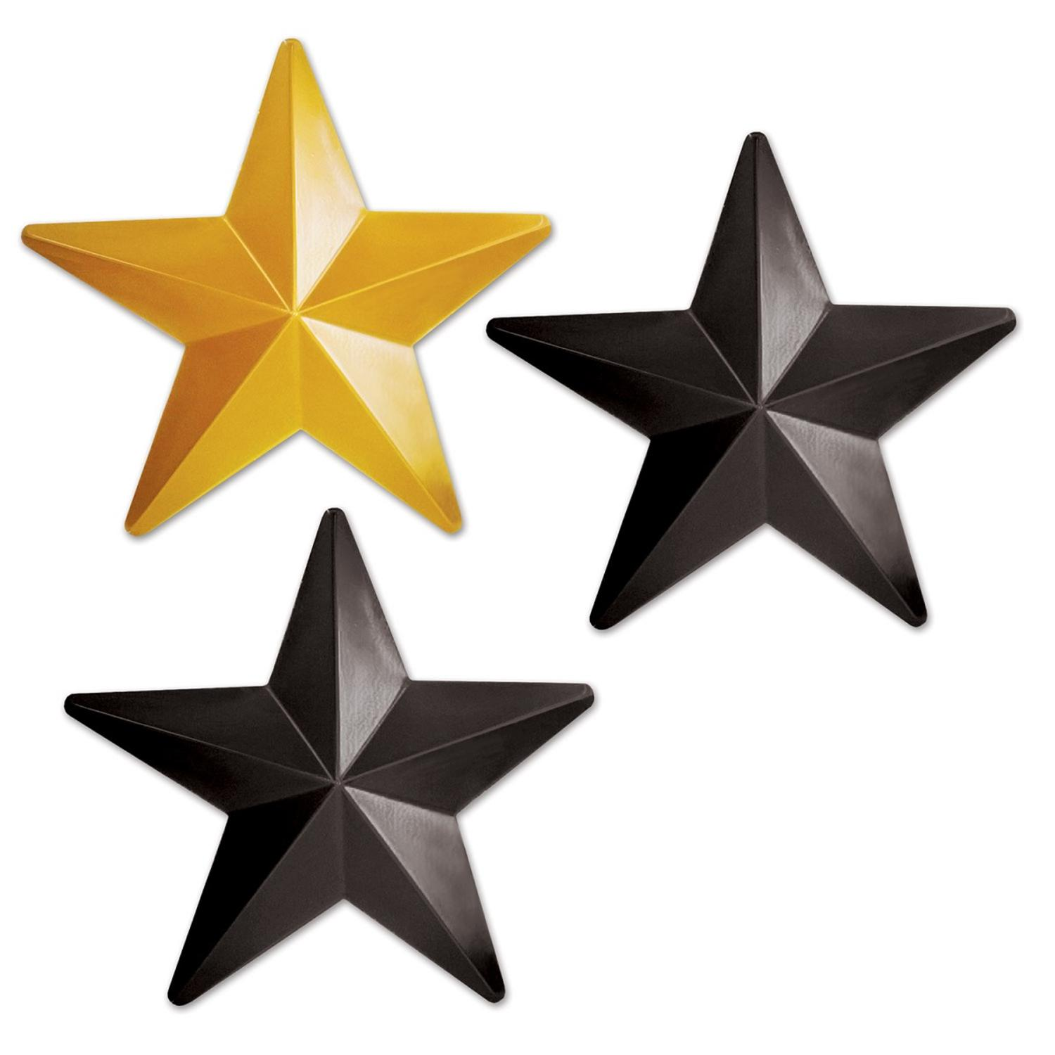 Club Pack of 36 Black and Gold Awards Night Plastic Star Party Decorations 12.25""
