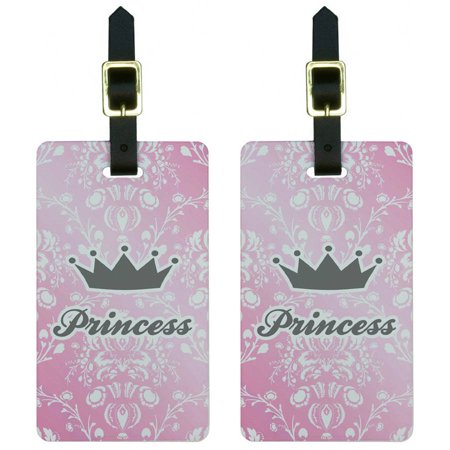 Princess Crown Pink Damask Spoiled Luggage Tags Suitcase Carry-On ID, Set of 2 Damask Luggage Tag