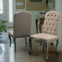 Drummond Beige Linen Hardwood Dining Chairs (Set of 2)