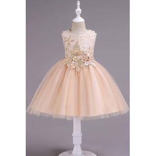 Kids Girls Lac Decorated Bust Sleeveless Evening Dress