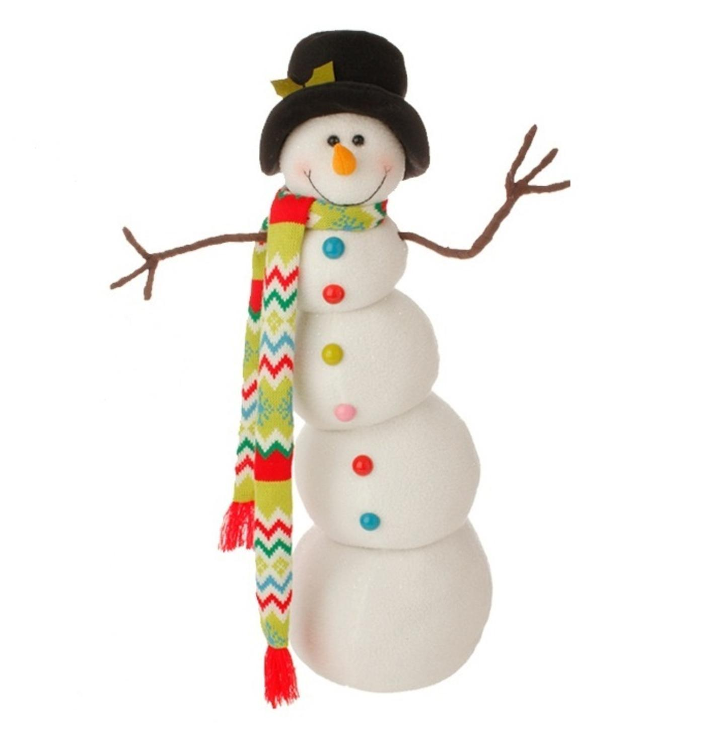 "26"" Merry & Bright Posable Snowman Christmas Decoration"