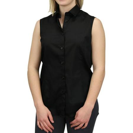 Women's Sleeveless Collared Shirt 100% Cotton Button Down Work Casual Shirt Blouse (Black, Medium) Color Shirt Black Suit