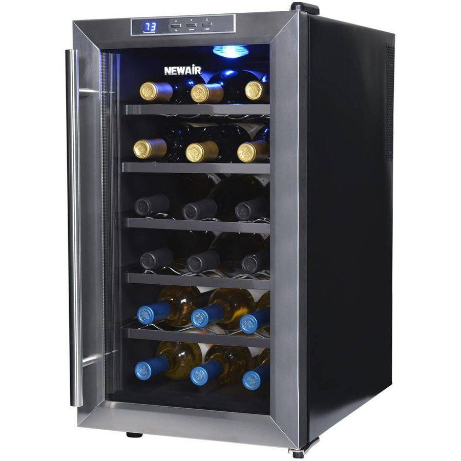 NewAir AW-181E 18-Bottle Thermoelectric Wine Refrigerator, Stainless Steel and Black