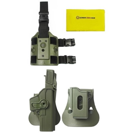 IMI Defense Z1410 Level 3 360° Rotate Holster Glock 17/22/31 Gen 4, OD  Olive Drab Green + ZSP08 Single Mag Pouch + Z2200 Drop Leg Platform +  Ultimate