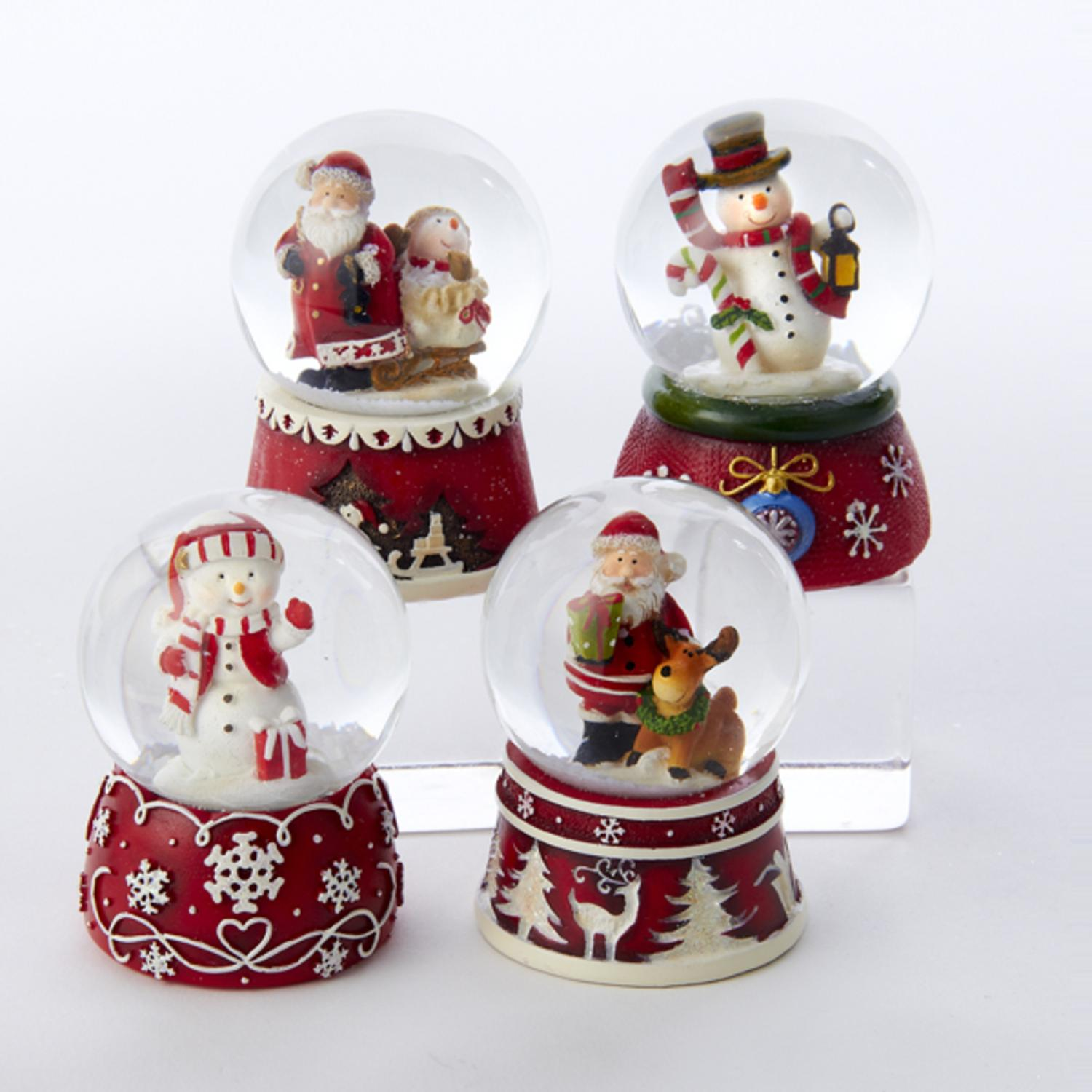 Club Pack of 12 Christmas Brites Red and White Santa/Snowmen Snow Globes  45MM