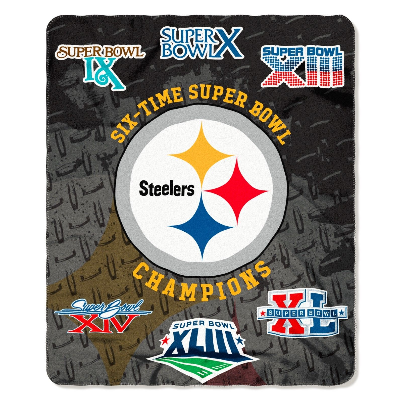 """NFL Pittsburgh Steelers 6 Time Super Bowl Champions 50""""x60"""" Fleece Throw Blanket"""