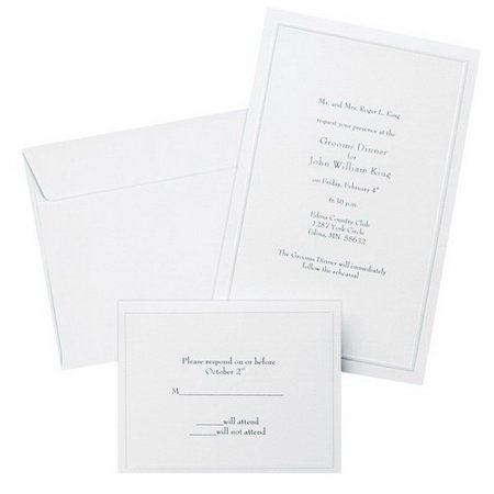 Studios 61001 Pearl White Border Wedding Invitation Kit