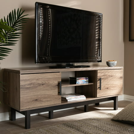 Baxton Studio Arend Modern and Contemporary Two-Tone Oak and Ebony Wood 2-Door TV Stand