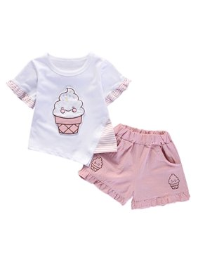 5705cd1c9 Product Image 2Pcs Toddler Kids Baby Girls Outfit Sets Short Sleeve T-Shirt  Tops+Shorts