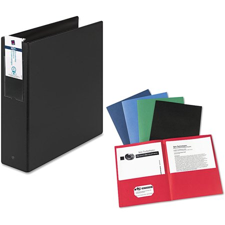 "Avery 5"" Heavy Duty View Binder with EZD Ring, Navy Blue and Avery Two-Pocket Folder, 20-Sheet Capacity, Assorted Colors, 25/Box Bundle"