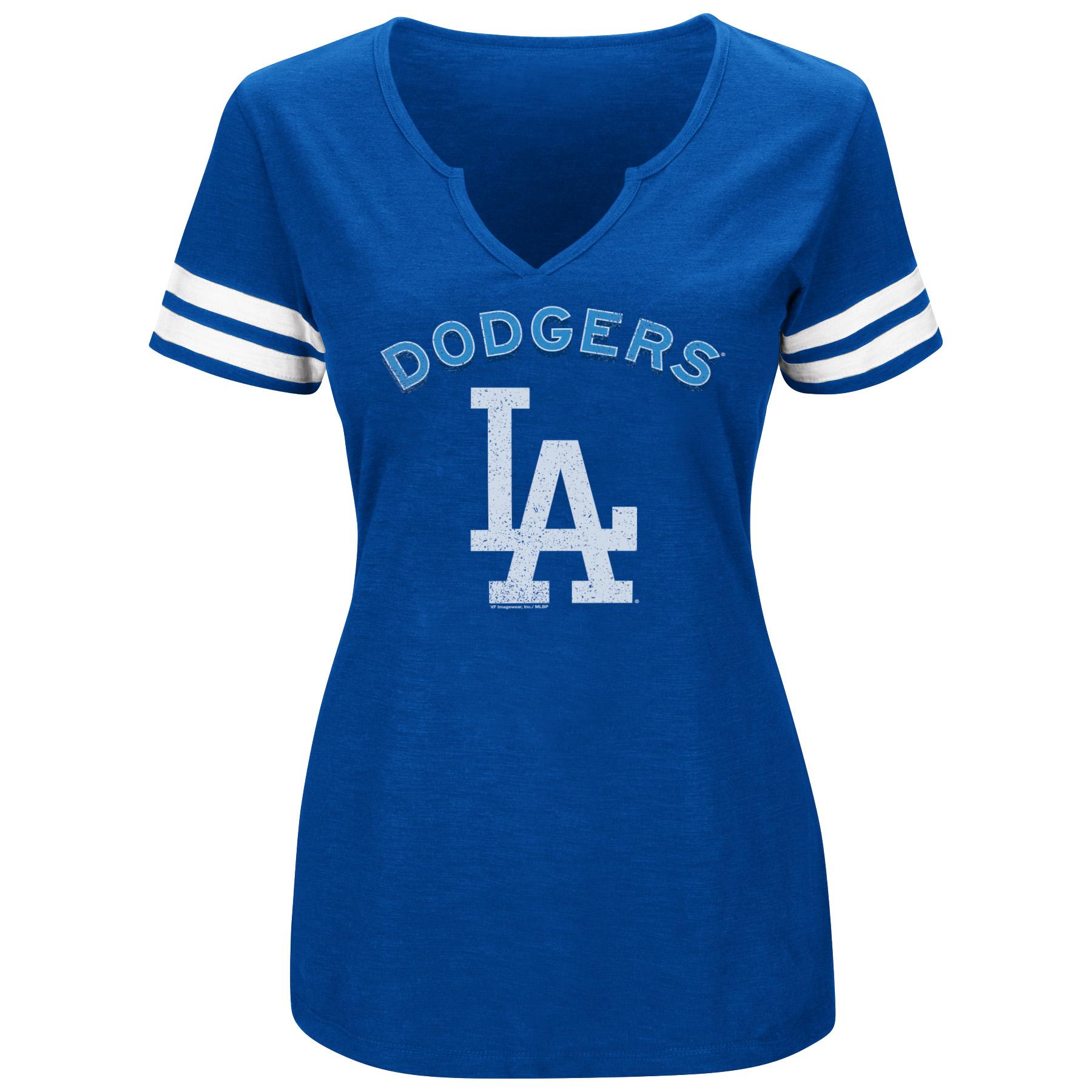 Women's Majestic Royal/White Los Angeles Dodgers Decisive Moment V-Notch T-Shirt