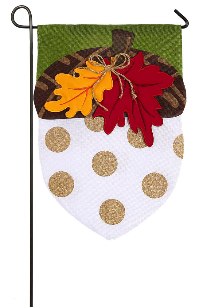 Evergreen Burlap Acorn Glitter Accented Garden Flag, 12.5 x 18 inches by Garden Accents