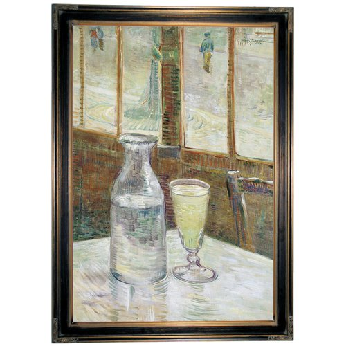 Historic Art Gallery 'Cafe table with absinth 1887' by Vincent Van Gogh Framed Painting Print