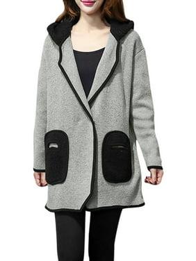 Unique Bargains Women's Hooded Shearing Patch Pockets Long Knit Coat