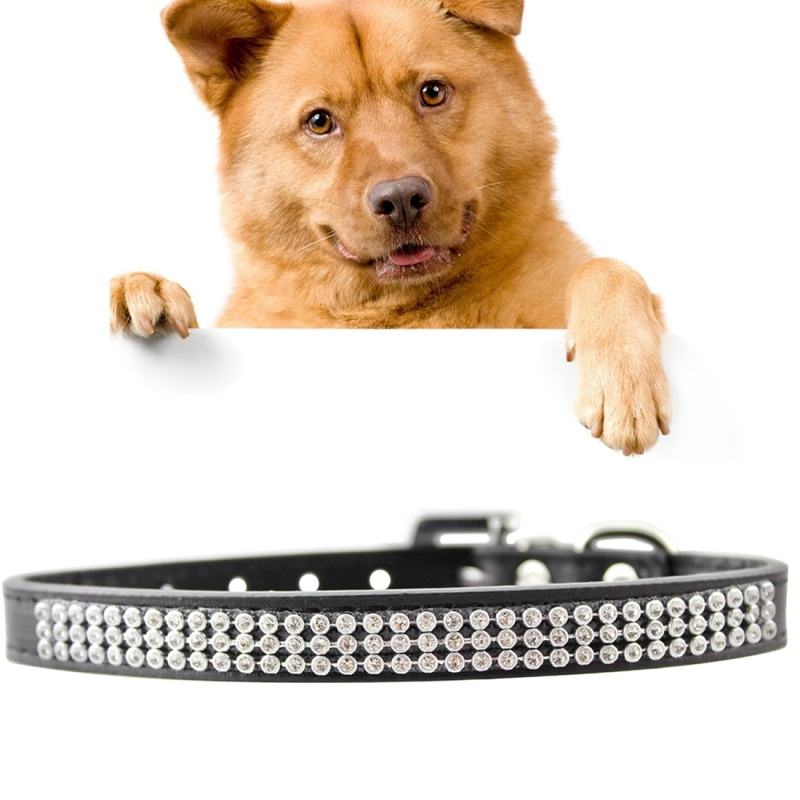 Dog Collar PU Diamond Studded Pet Neck Collar with Metal D Ring, Buckle, Size: Small, 1.5 x 37cm - Black