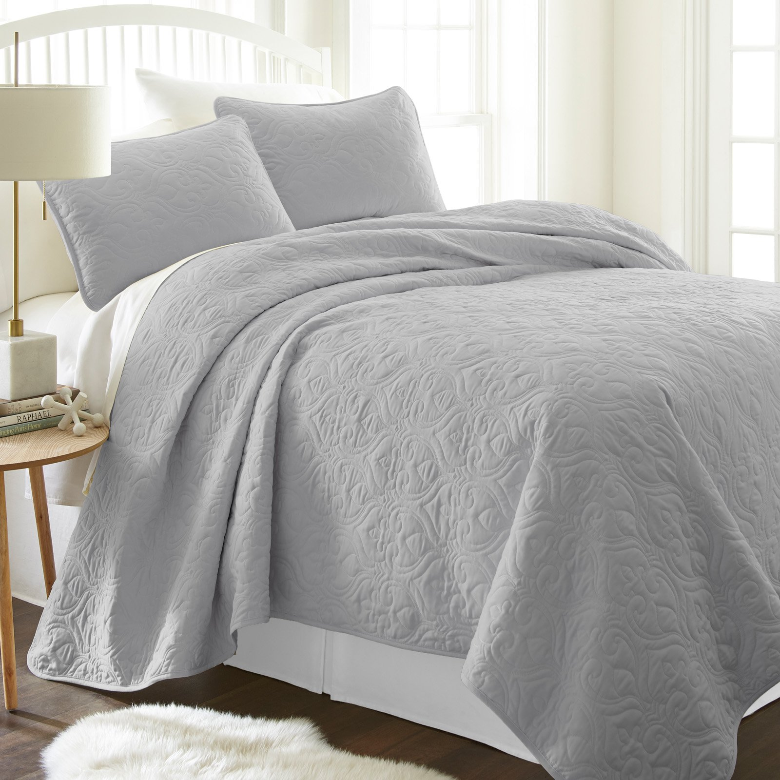 Damask Quilted Coverlet Set by Noble Linens