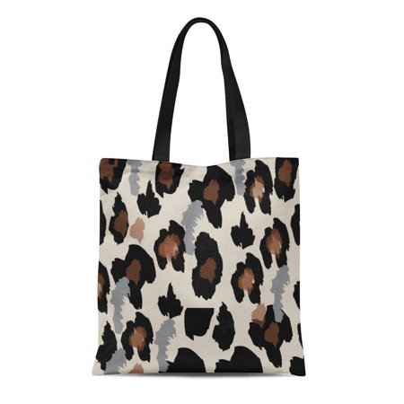 SIDONKU Canvas Tote Bag Abstract Pattern Leopard and Black Camouflage Cat Cheetah Reusable Shoulder Grocery Shopping Bags Handbag
