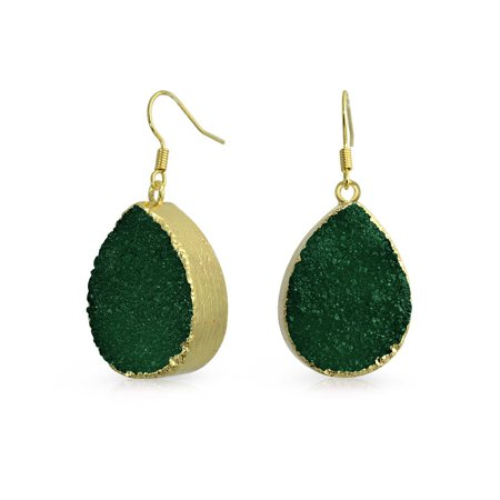 Boho Fashion Pear Teardrop Gemstone Organic Dark Green Druzy Dangle Earrings For Women For Teen 14K Gold Plated Metal - image 3 of 3