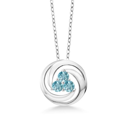 1.50 Ct Round Blue Zircon 925 Sterling Silver Circle Round Pendant With Chain
