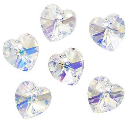 English Bronze Swarovski Strass Crystal (Swarovski Crystal, #6228 Heart Pendants 10mm, 6 Pieces, Crystal AB )