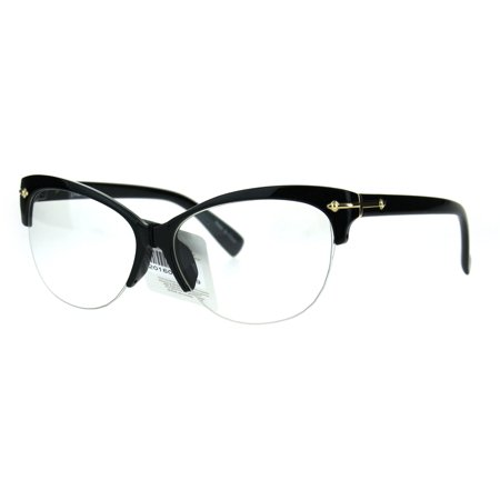 54435e0b735 Fashion Half Rim Womens Cat Eye Clear Lens Horned Glasses Black Gold -  Walmart.com