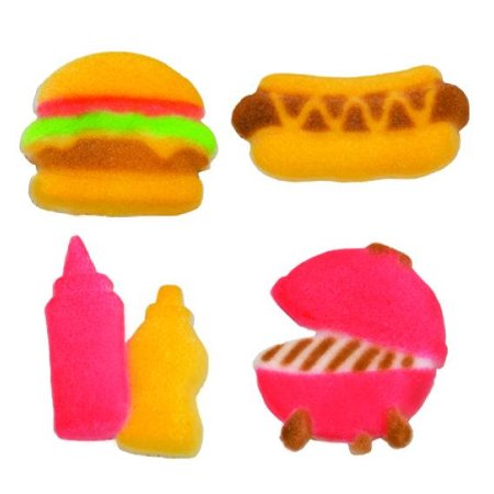 Summer Bar BQ Hamburger Hot Dog Ketchup Mustard Grill Sugar Decorations Toppers Cupcake Cake Cookies Birthday Favors Party 12 Count - Summer Cupcakes