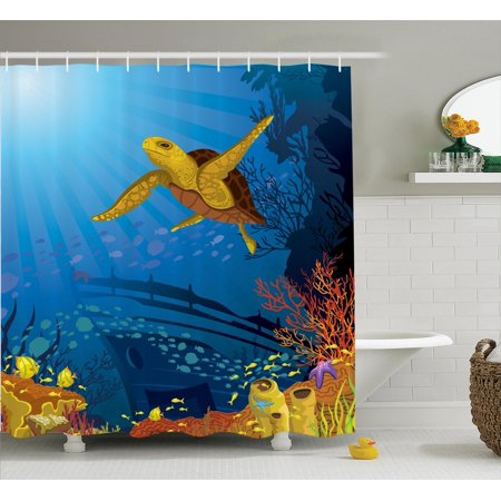 Ocean Decor Shower Curtain Set, Colored Coral Reef With Silhouette School Of Fish And Turtle Underwater Nature Art, Bathroom Accessories, 69W X 70L Inches, By Ambesonne